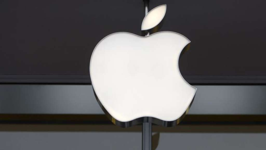 Das Apple-Logo an einem Apple-Store. Foto: Shawn Thew/EPA FILE